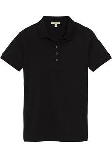 Burberry Check Trim Stretch Cotton Piqué Polo Shirt - Black