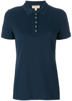 Burberry Check Trim Stretch Cotton Piqué Polo Shirt - Blue