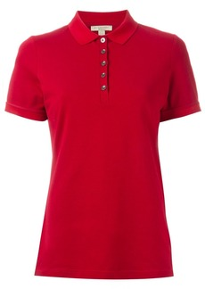 Burberry Check Trim Stretch Cotton Piqué Polo Shirt - Red