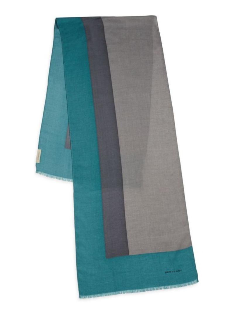Burberry Colorblock Wool, Cashmere & Silk Scarf