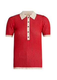 Burberry Contrast-collar cashmere-blend polo shirt