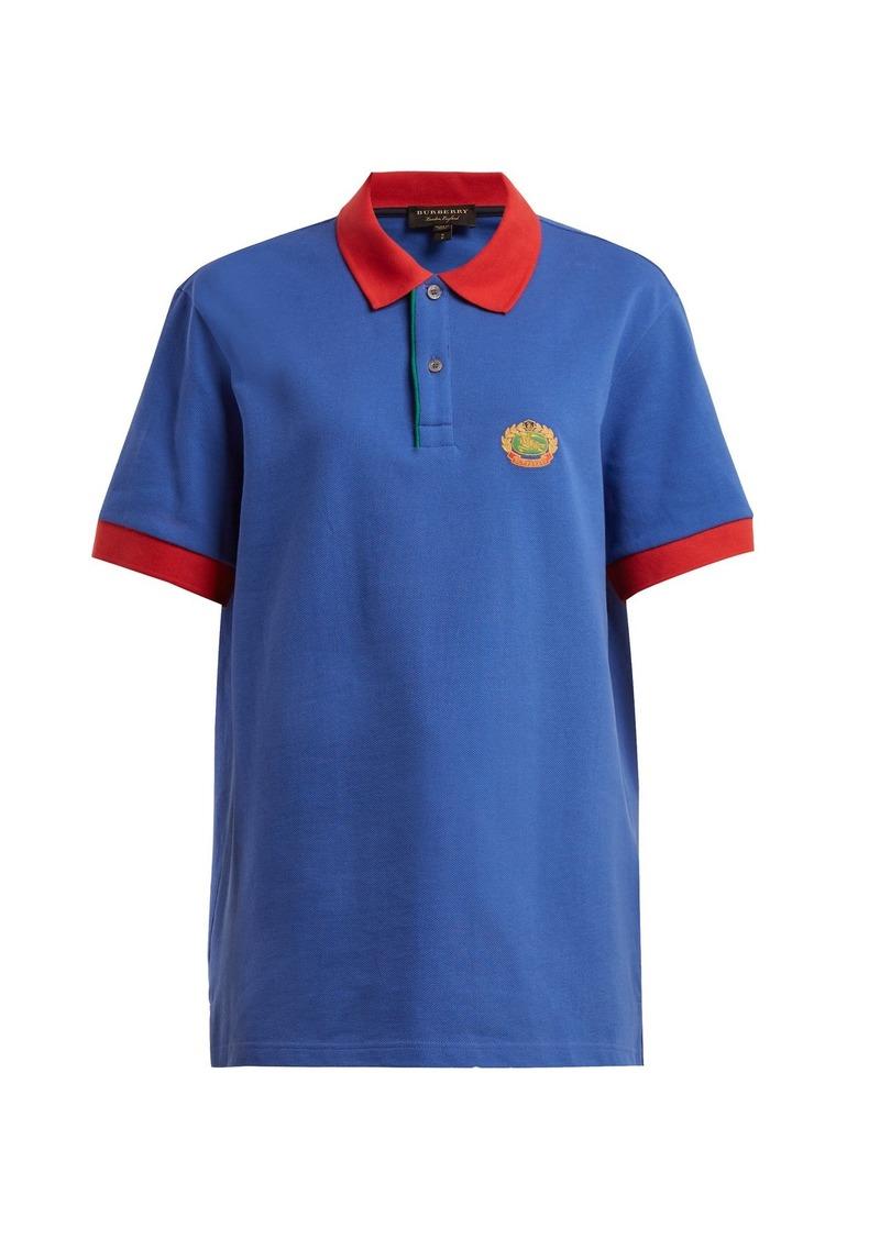 88fd9c69 Burberry Burberry Contrast-collar cotton-piqué polo shirt