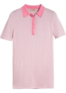 Burberry Contrast Collar Silk Cashmere Polo Shirt - Pink & Purple