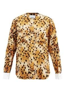 Burberry Contrast-cuff leopard-print silk blouse