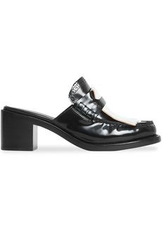 Burberry Contrast Kiltie Fringe Leather Block-heel Mules - Black