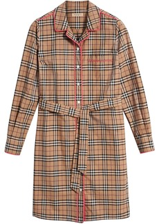 Burberry contrast piping check shirt dress - Brown