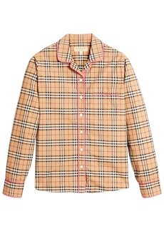 Burberry contrast piping vintage check pyjama-style shirt - Brown