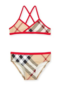 Burberry Crosby Check Cross-Back Two-Piece Swimsuit