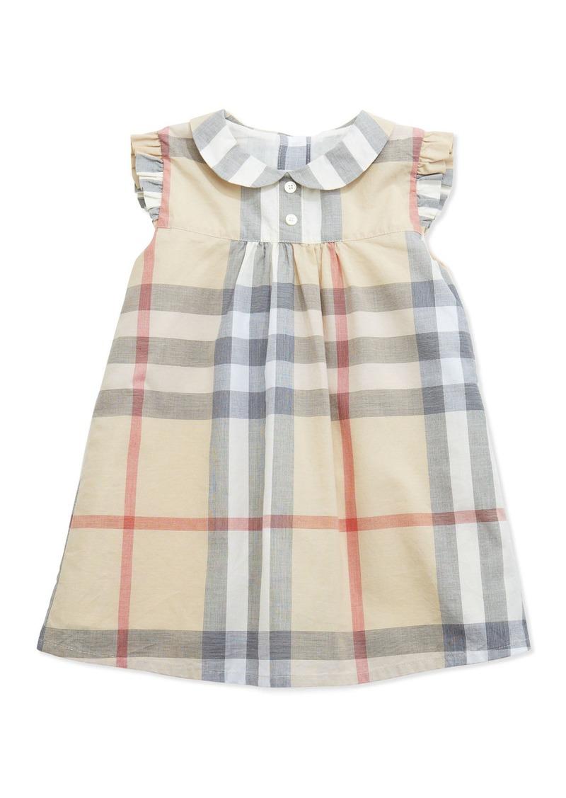 7dbcfd1b1b2a Burberry Davina Ruffle-Shoulder Check Dress
