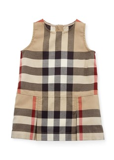 Burberry Dawny Sleeveless Pleated Check Dress  New Classic  Size 6M-3