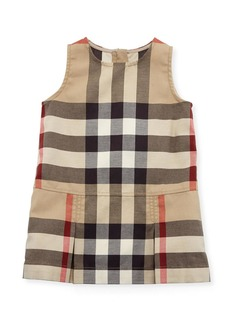 Burberry Dawny Sleeveless Pleated Check Dress  New Classic  Size 6M-3