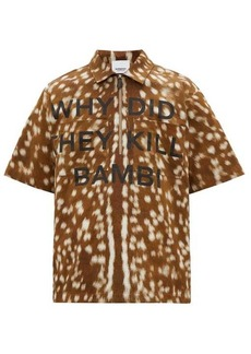 Burberry Deer-print cotton-twill shirt