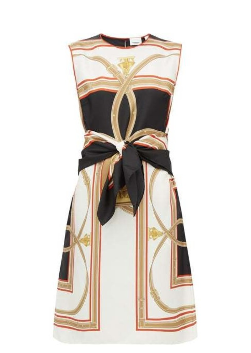 Burberry Detachable-belt scarf-print silk shift dress