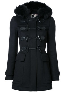 Burberry Detachable Fur Trim Wool Duffle Coat - Black