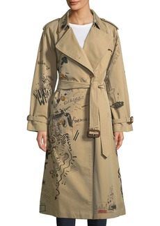 Burberry Doodle-Print Cotton Trench Coat