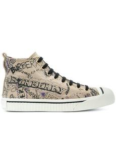 Burberry doodle print high-top sneakers - Brown