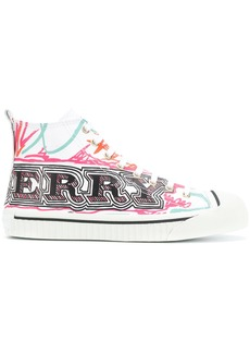 Burberry doodle print high-top sneakers - White