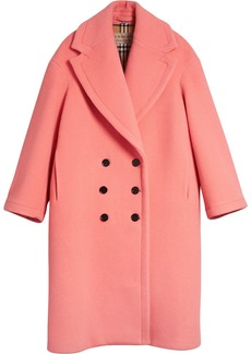 Burberry Double-faced Wool Cashmere Cocoon Coat - Pink & Purple