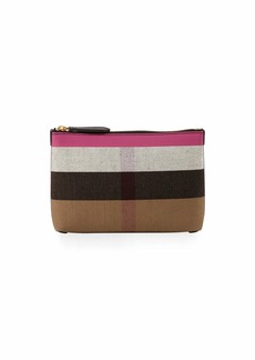 Burberry Duncan Medium Canvas Check Clutch Bag