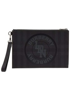 Burberry Edin logo-print London-check pouch
