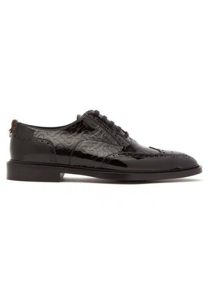 Burberry Embossed TB-monogram patent-leather brogues