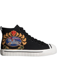 Burberry Embroidered Archive Logo High-top Sneakers - Black