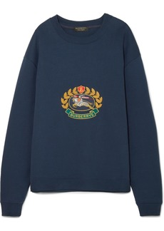 Burberry Embroidered cotton-blend jersey sweatshirt