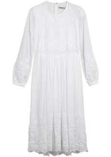 Burberry Embroidered Cotton Silk Voile Dress - White