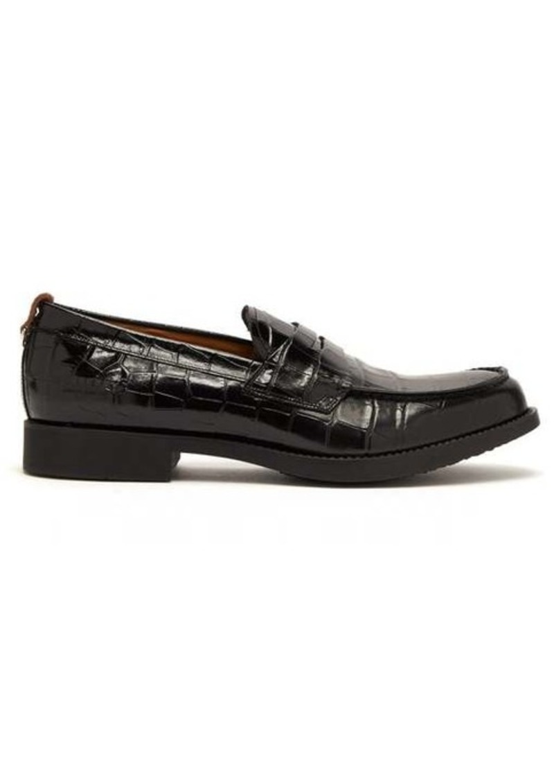 Burberry Emilie crocodile-effect leather penny loafers