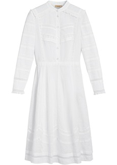 Burberry english lace detail shirt dress - White