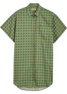 Burberry Equestrian Check Print Cotton Longline Shirt - Green