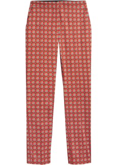 Burberry Equestrian Check Print Stretch Cotton Cigarette Trousers -