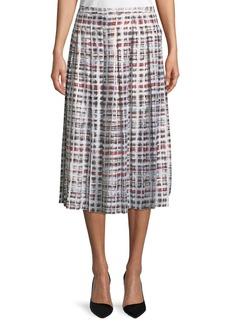 Burberry Farnborough Window-Check Pleated Silk Skirt