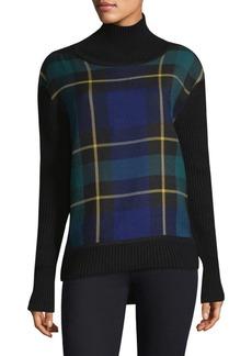 Burberry Fiora Plaid Turtleneck Sweater