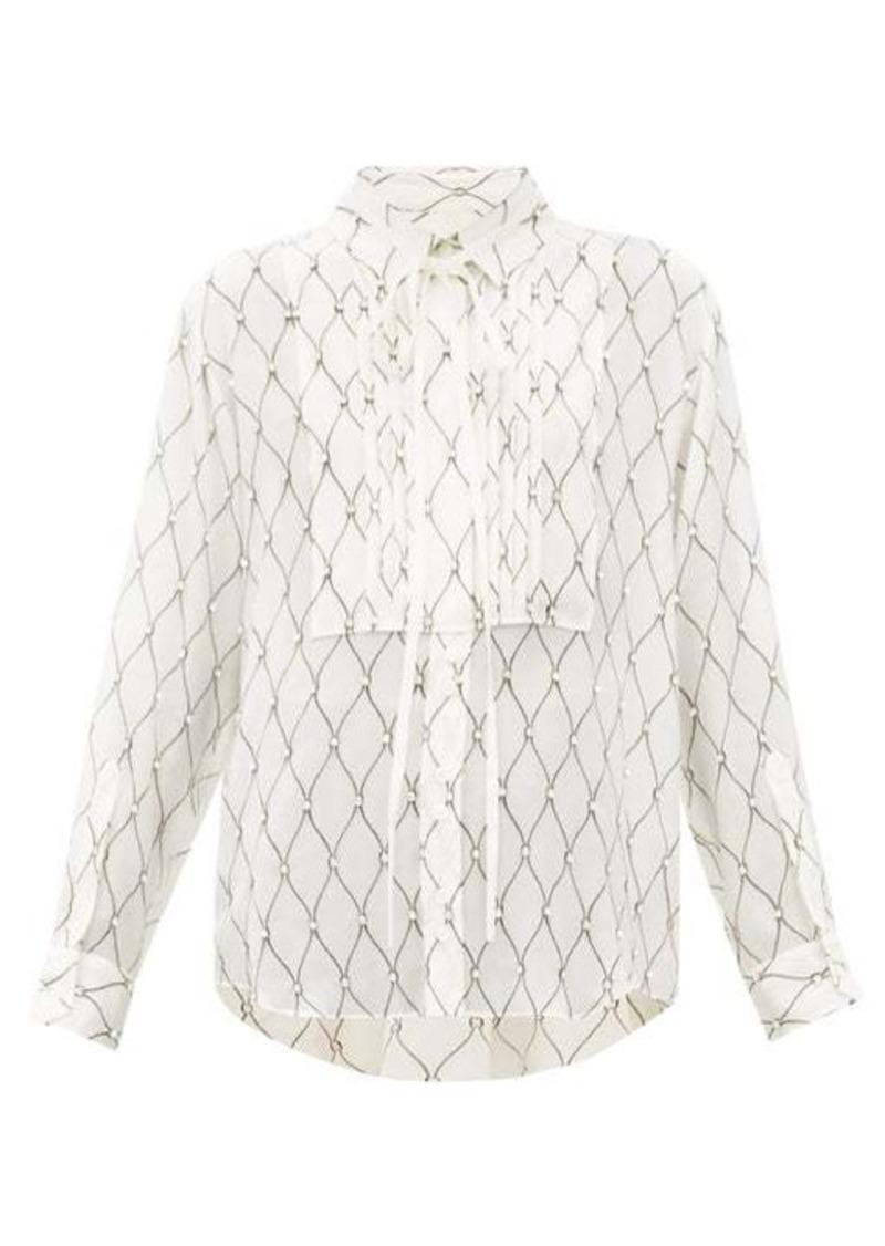 Burberry Fishnet-print silk-crepe blouse