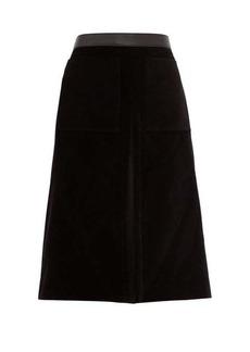 Burberry Flared cotton-velvet skirt