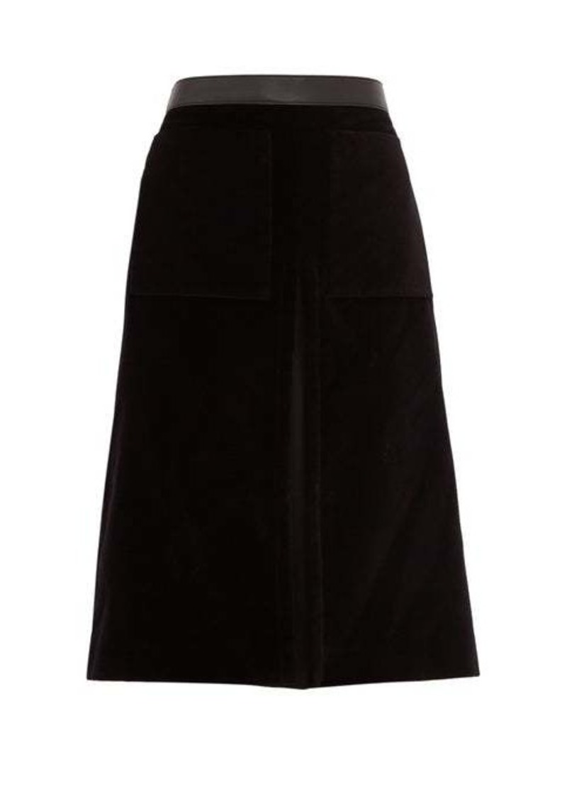 Burberry Flared cotton-velvet skirt