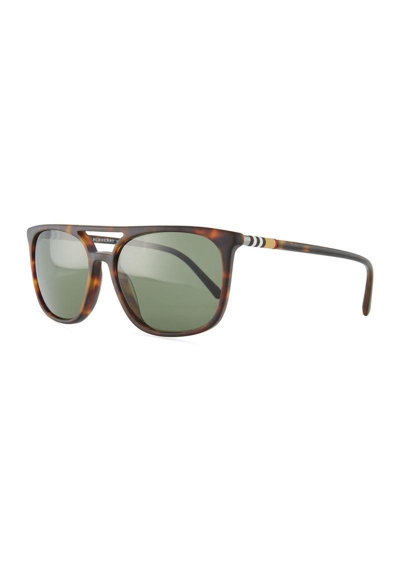 d29af6898cc Burberry Flat-Top Polarized Square Acetate Sunglasses