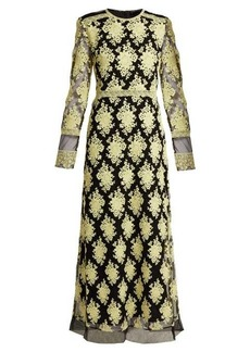 Burberry Floral-embroidered mesh dress