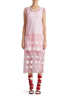 Burberry Floral Embroidered Sleeveless Tulle Dress