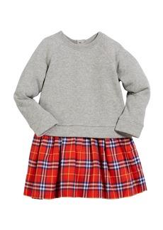 Burberry Francine Sweatshirt & Plaid Skirt Dress  Size 4-14