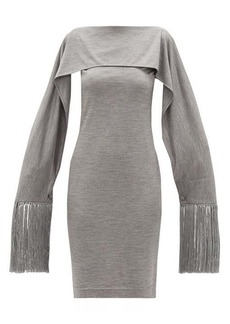 Burberry Fringed-cuff merino-wool dress