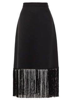 Burberry Fringed mohair-blend A-line skirt