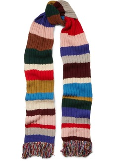 Burberry Fringed striped ribbed wool scarf