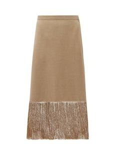 Burberry Fringed wool-blend pencil skirt