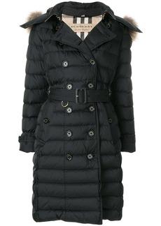 Burberry fur trim puffer coat - Black