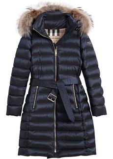 Burberry fur trim quilted coat - Blue