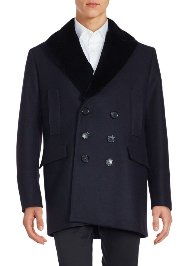 Burberry Fur-Trimmed Double-Breasted Jacket