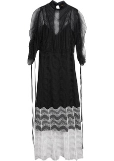 Burberry Gathered-sleeve Geometric Lace Dress - Black