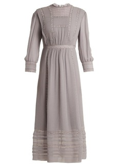Burberry Georgetta lace-trimmed crinkle-silk dress